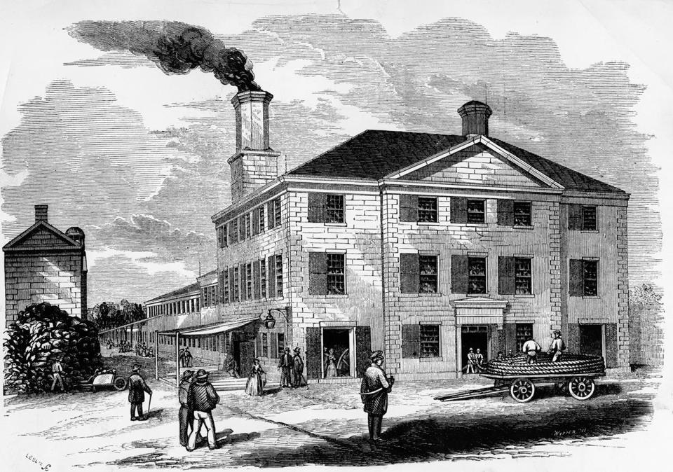 BOSTON, MA: A sketch of the Ropewalk Complex in Charlestown Navy Yard in Boston from 1853. The sketch was printed in Harper's Magzine. --- BGPA Reference: 160519_MJ_001
