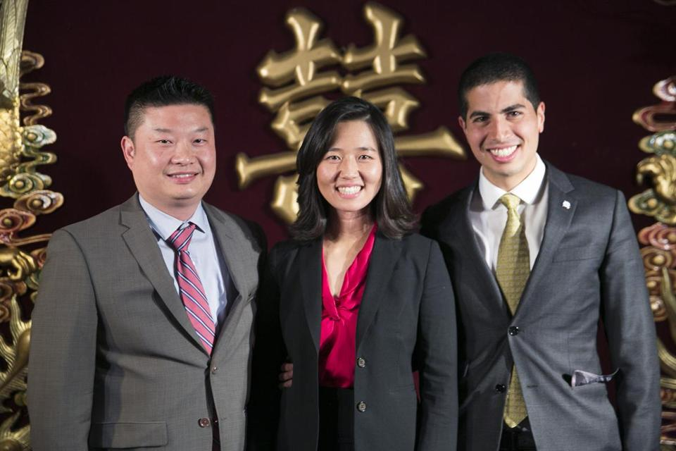 From left, Tommy Chang, the first Asian-American to become superintendent of Boston's public schools; Michelle Wu, the first Asian-American selected as City Council president; and Dan Koh, the first Asian-American to serve as a chief of staff to a Boston mayor.