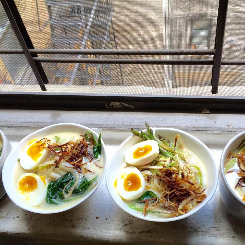 Vegetarian spring ramen with ramps, asparagus, and frizzled scallions, made by Volger.