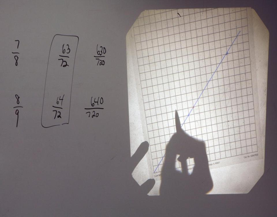 Hopkinton, MA 101706 7th grade advanced math teacher, Mrs. Cathy Anusauskas (CQ), in prep for the MCAS tests, divides her class up into groups so they can solve a math problem in 3 different ways. At the beginning of class she works a problem on the overhead projector. (Janet Knott/Globe Staff) Sec: Metro Slug: Unkwn Reporter:Maria S. / OUTTAKe 1020 / OUTTAKe 1031