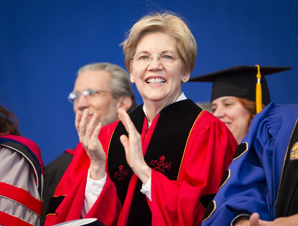 Elizabeth Warren was one of the speakers at Suffolk University's commencement on Sunday.