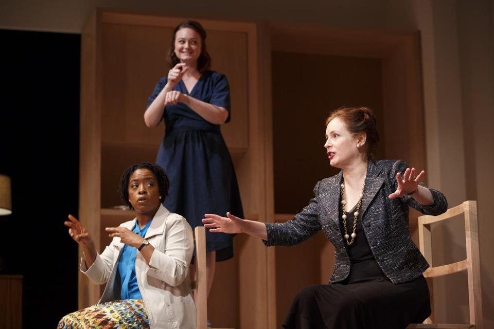 "From left: Gameela Wright as Mariama; Amelia Hensley, shadow interpreter for Pleasant; and Dee Nelson as Pleasant in a technical rehearsal for ""I Was Most Alive With You."""