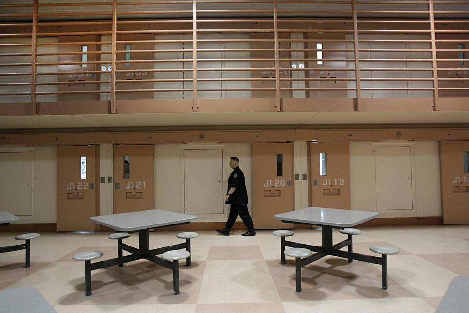Lancaster , Ma., 05/17/16. A CO performing the count. For the mental health Spotlight series: A tour of the Souza-Baranowski correctional Center unit for inmates with mental health issues. Globe staff/Suzanne Kreiter.
