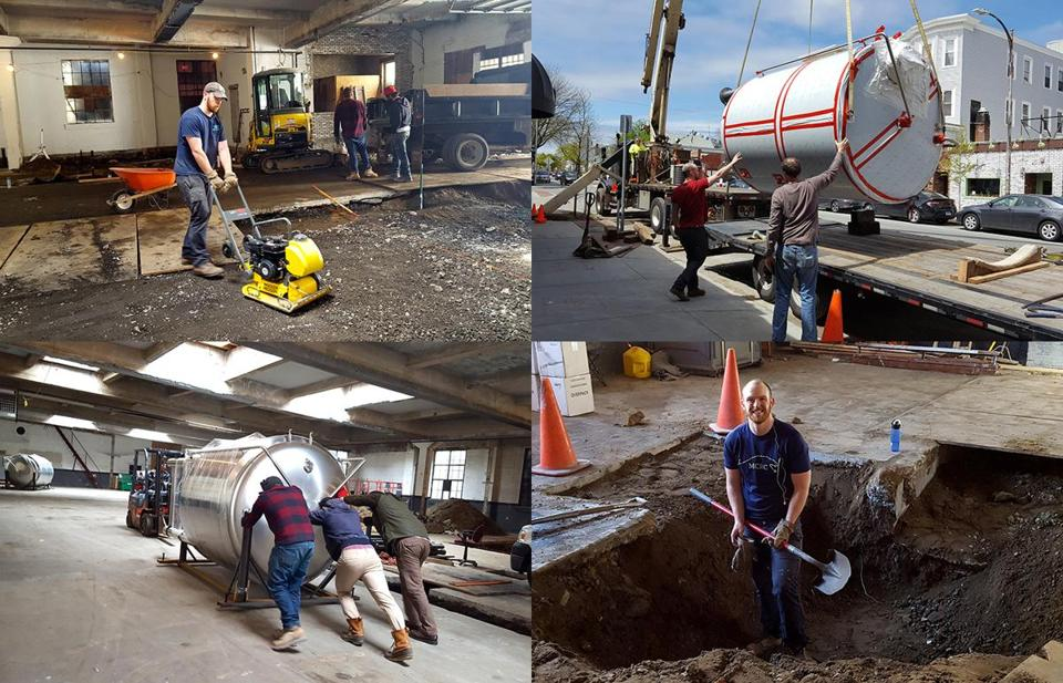 Scenes from transforming an auto repair shop into a craft brewery, including sweat equity put in by cofounders Jones (with shovel).