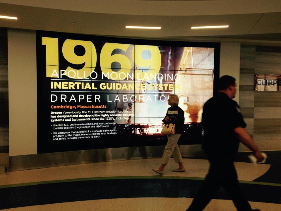 For Scott Kirsner column on display at Logan 5/29/16. A new display that was just installed at Logan Airport, on 400 years of innovation history in Massachusetts.