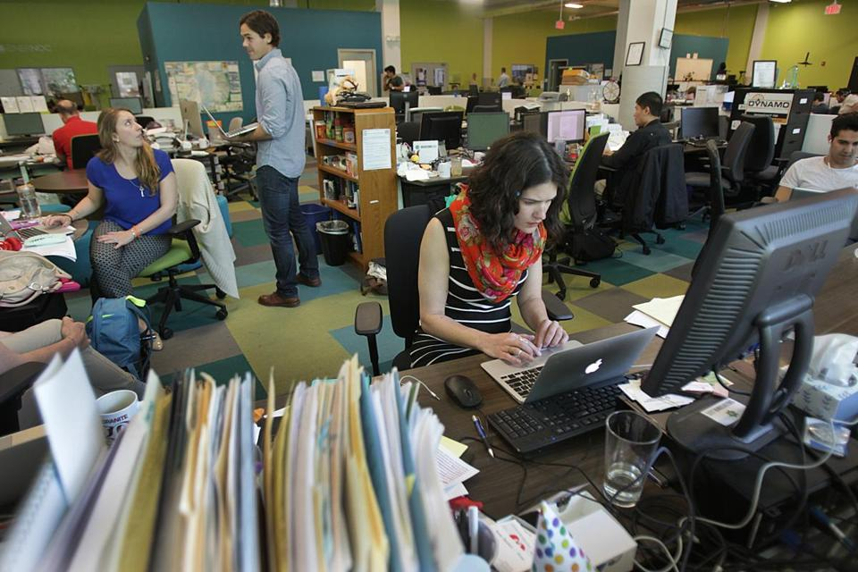 Somerville, MA., 05/25/16, Micaelah Morrill at Greentown Labs. As more companies go to open office plans, workers wax nostalgic for the privacy and distraction-free zone of the much-hated cubicle. Suzanne Kreiter/Globe staff