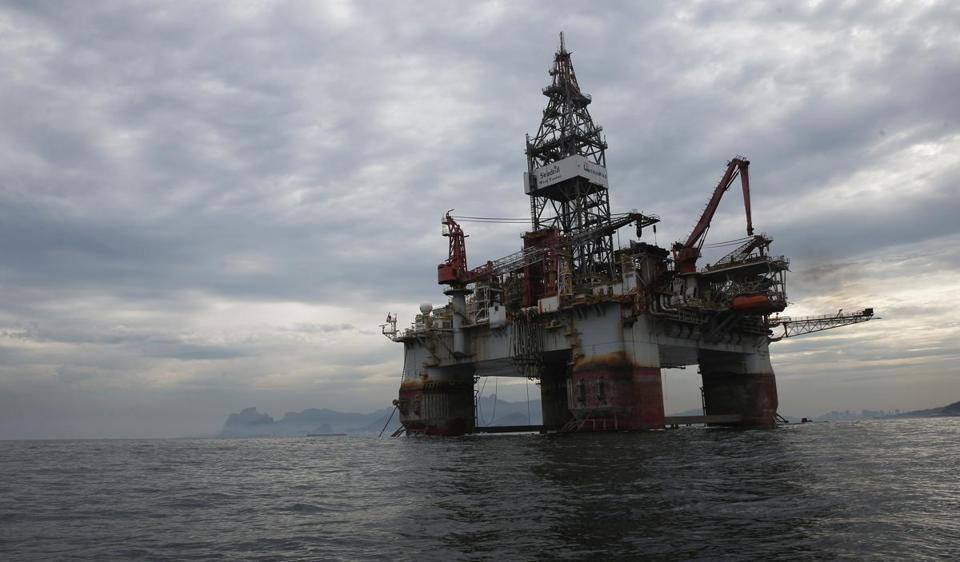 A Petrobras oil platform floats in the Atlantic Ocean near Guanabara Bay on July 3, 2015 in Rio de Janeiro, Brazil.