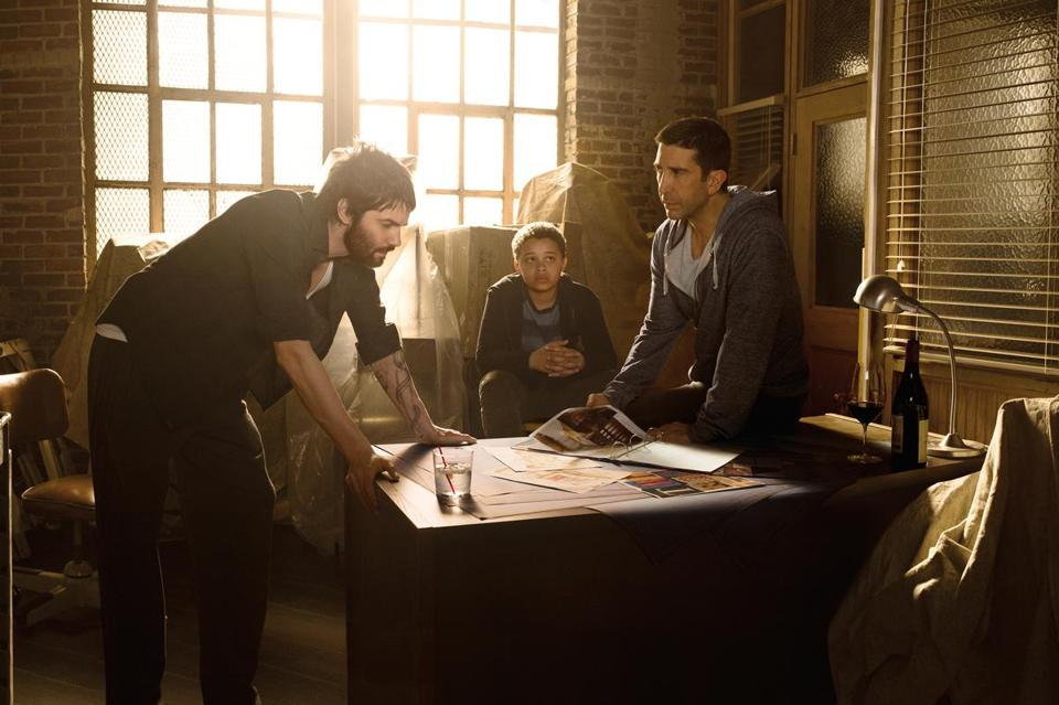 "From left: Jim Sturgess, Elijah Jacob. and David Schwimmer in ""Feed the Beast,"" which weaves three distinct story lines together."