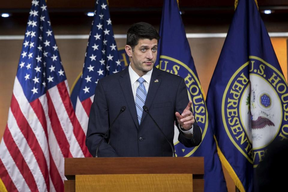 House Speaker Paul Ryan spoke during a weekly news conference in May.