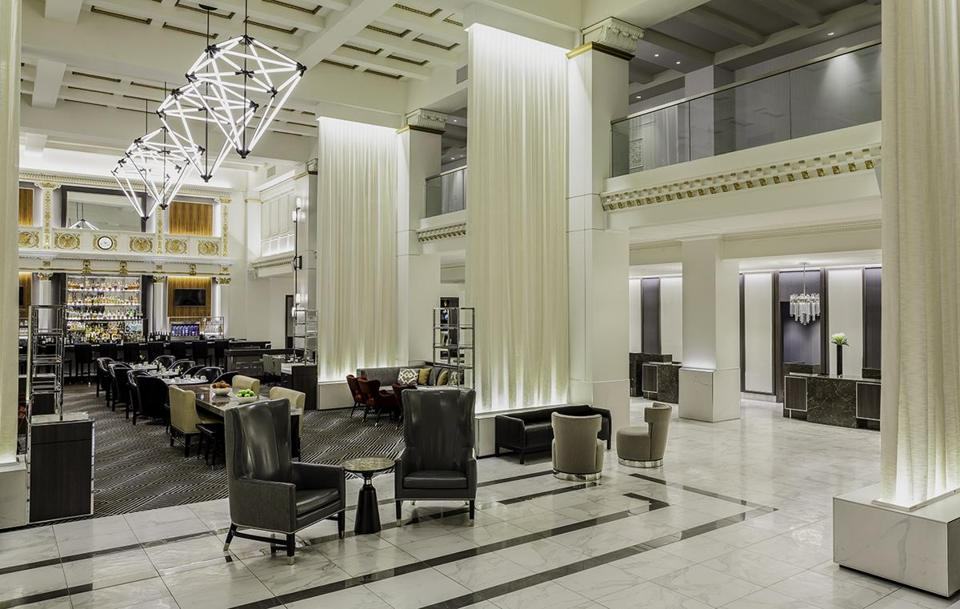 The Boston Park Plaza Hotel's beautifully refurbished lobby.