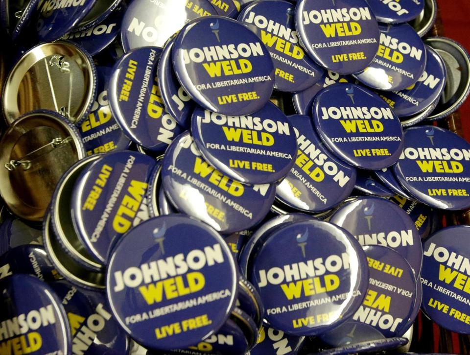 Campaign buttons for Libertarian presidential candidate Gary Johnson and vice presidential candidate Bill Weld.