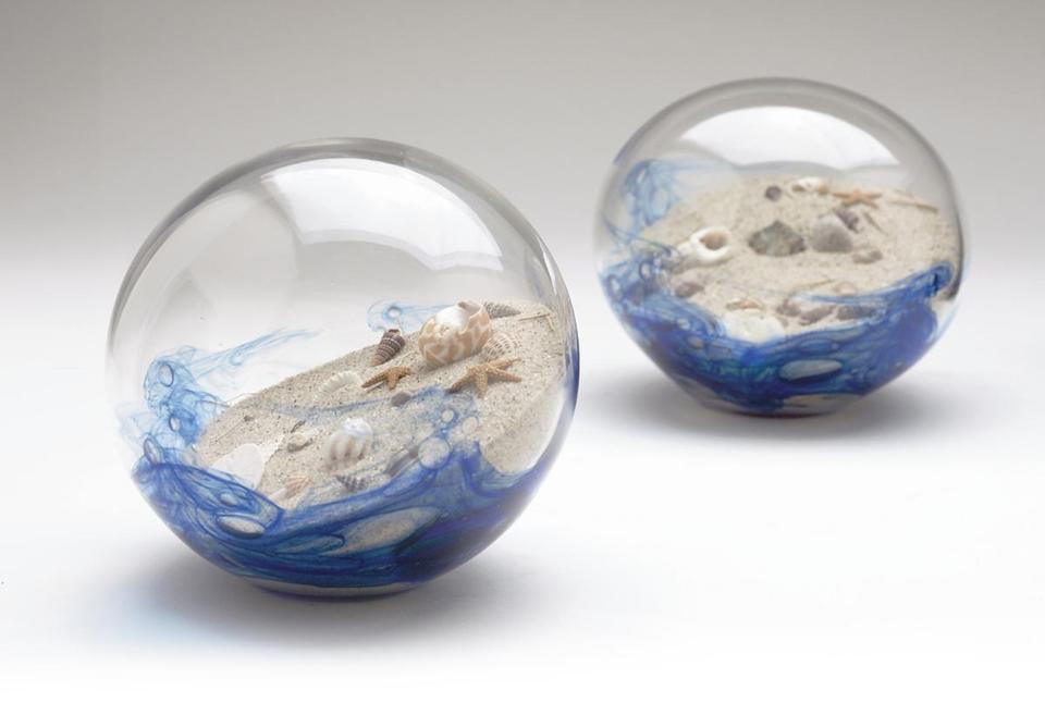 "Sand- and shell-filled ""ocean balls"" are a popular item in Michael Magyar's Cape Cod Sea Bubble glass line."