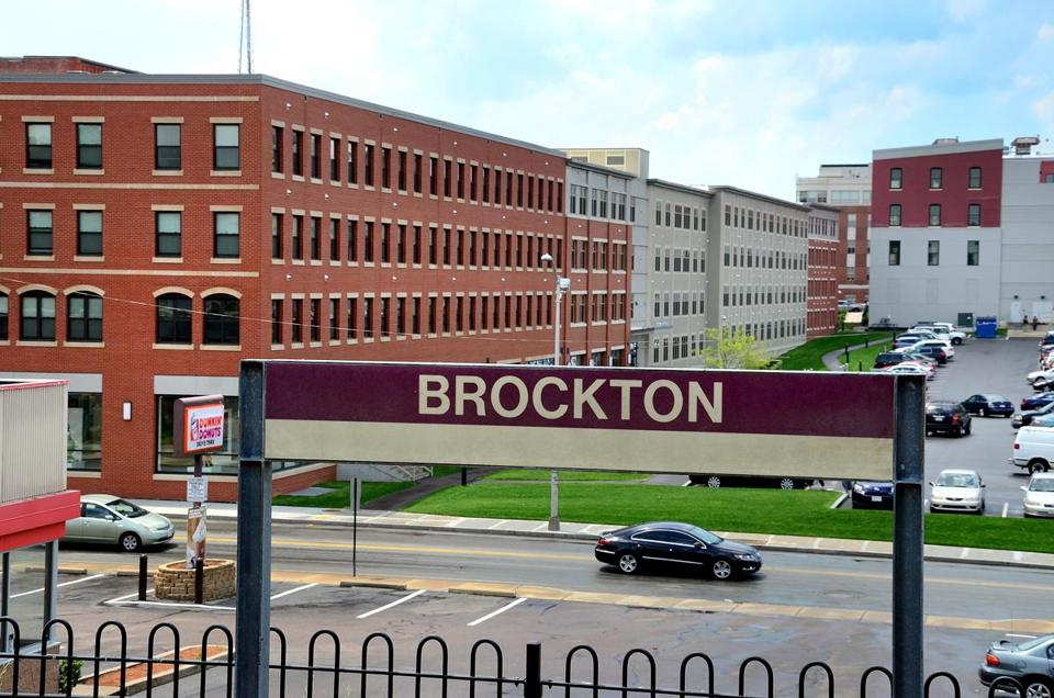 Brockton 06/07/2016 : The view of Enterprise Center from the Brockton Commuter Rail station in Brockton on the Montello Street side. The area takes up a block bordering Main St., Petronelli Way and Centre and Montello Streets. More of these projects which have commercial on the lower level and apartments on the upper levels, are sprouting up along subway and commuter rail stations. Photo by Debee Tlumacki for the Boston Globe (regional)