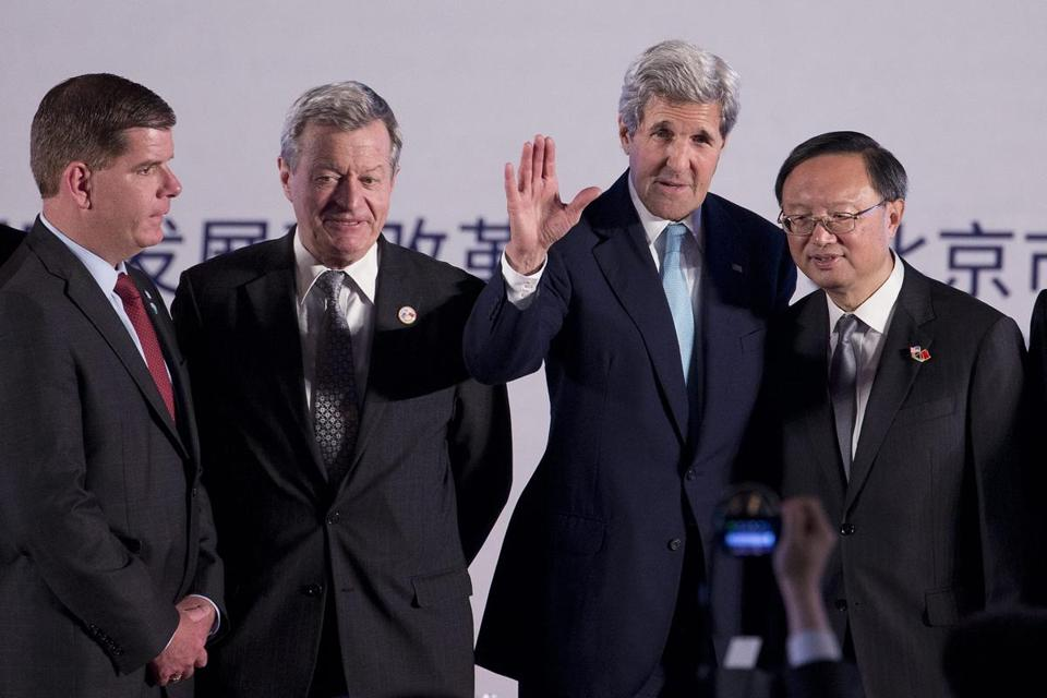 Boston Mayor Martin J. Walsh and Secretary of State John F. Kerry were both present in Beijing for the announcement of the 2017 summit. They were joined by US Ambassador to China Max Baucus (second from left) and Chinese State Councilor Yang Jiechi.