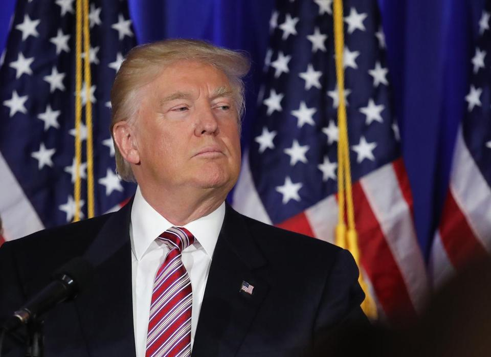 Donald Trump addressed supporters Tuesday in Briarcliff Manor, N.Y., after primary results started coming in.