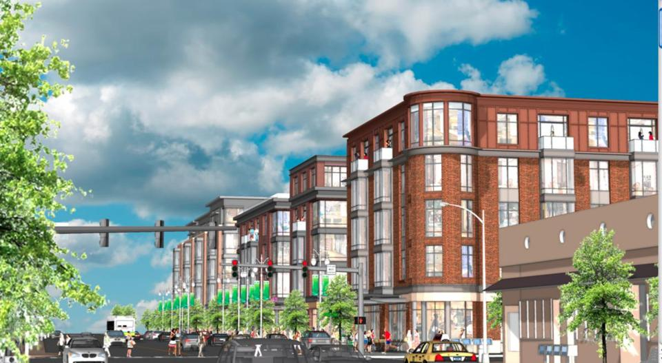 The four- and five-story mixed-use development would replace the buildings at the corner of Washington and Walnut streets in Newtonville.