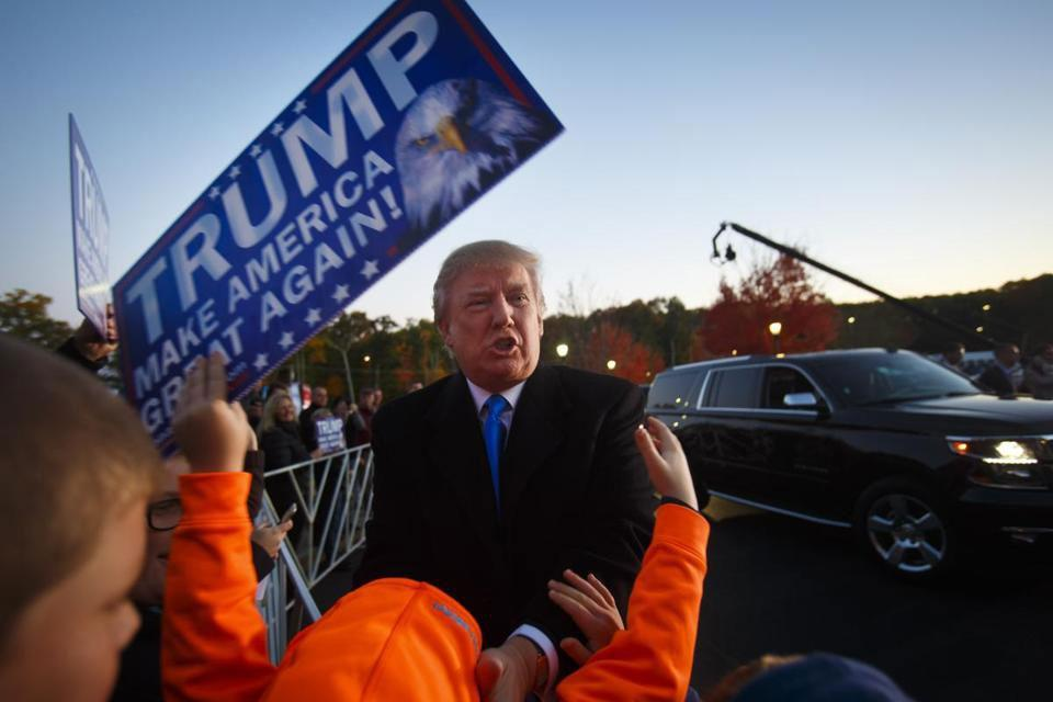 Donald Trump arrived for a campaign event at the Atkinson Country Club in Atkinson, N.H. in October 2015.