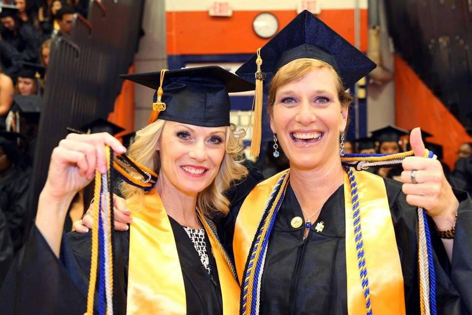 19noprofile- Laurie Ansiono, of Wakefield, a grandmother of four, recently achieved her dream of graduating from college. Laurie (left) and fellow graduate Wendy Davidson of Danvers, at their graduation from North Shore Community College. (handout)
