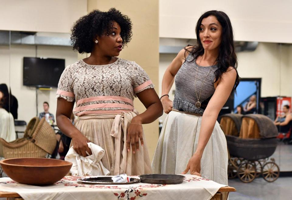 "Lindsay Roberts (left) and Sarah Hanlon in rehearsal for ""Show Boat."""