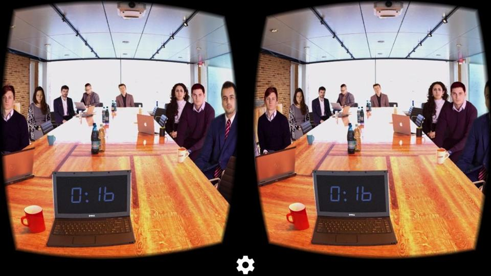 A screen shot of the Public Speaking app, which is a virtual reality app that requires extra hardware to see the video — specifically Google Cardboard.