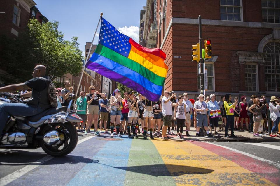 Pride celebrations, if somewhat subdued, went on Sunday despite the Orlando attacks. Here, the 2016 Pride Parade in Philadelphia.