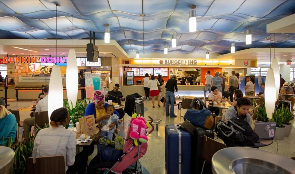 The food court at terminal C in Logan airport in Boston, Mass.