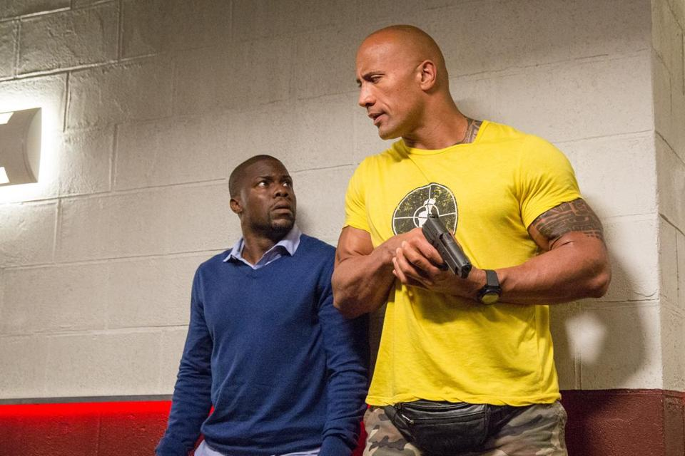 "Kevin Hart and Dwayne Johnson in ""Central Intelligence."""