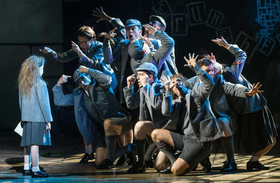 "Sarah McKinley Austin (left) in the title role of ""Matilda the Musical"" at the Boston Opera House."