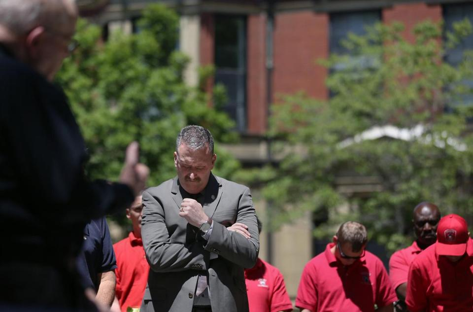 Boston Fire Department Commissioner Joseph E. Finn bowed his head during the annual memorial ceremony for the nine firefighters that lost their lives in the 1972 Hotel Vendome fire.