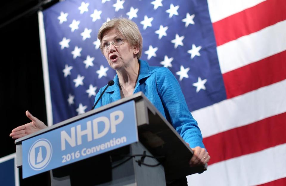 BEDFORD, NH - 6/18/2016: U.S. Sen. Elizabeth Warren (D-Massachusetts) speaks during the New Hampshire Democratic Party State Convention at Bedford High School in Bedford, New Hampshire, on Saturday, June 18, 2016. Warren was the convention's keynote speaker. (Timothy Tai for The Boston Globe)