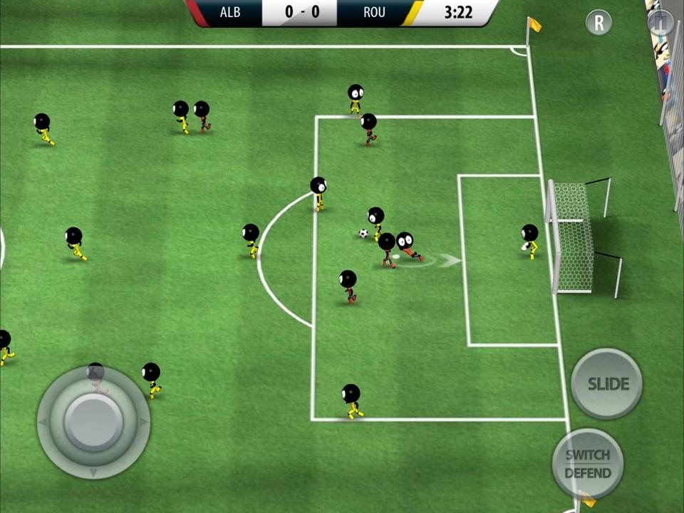 """Stickman Soccer 2016"" has a 3-D cartoon look and a fast pace of play; games last only a few minutes."