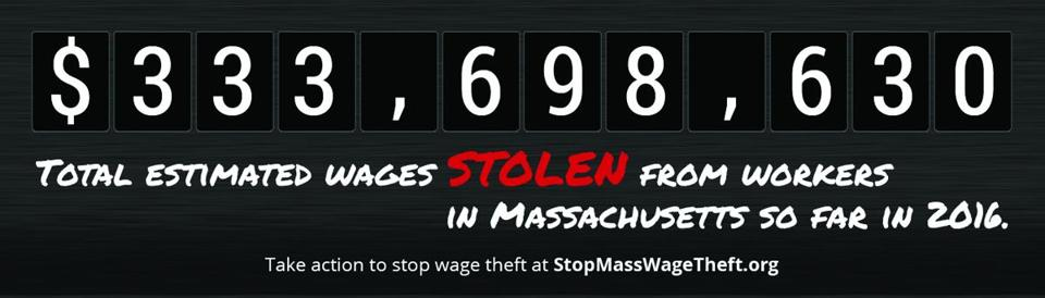 22billboard- A digital billboard being funded by Community Labor United will keep a minute-by-minute tally of wage theft in Massachusetts. (Community Labor United)
