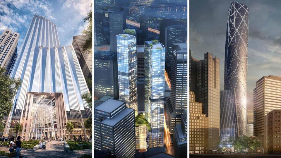 A sampling of proposals for the Winthrop Square Garage from Millenium Partners (left), Trans National Properties (middle), and a partnership of Lend Lease, Hudson Group, and Eagle Development.