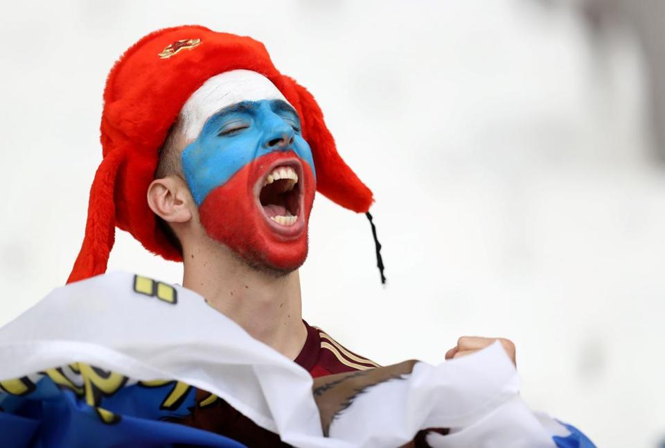 A Russian supporter sings ahead of the England vs. Russia match June 11 at the Euro 16 in France.