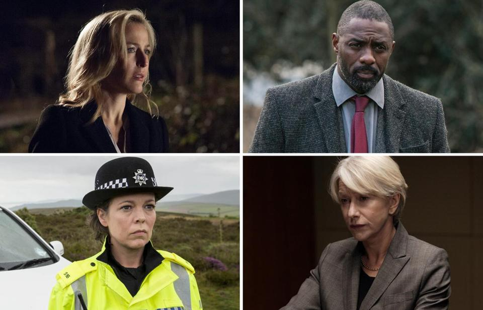 "Clockwise from top left: Gillian Anderson in ""The Fall,"" Idris Elba in ""Luther,"" Helen Mirren in ""Prime Suspect,"" and Olivia Colman in ""Broadchurch."""