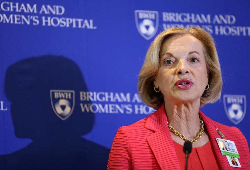 BOSTON, MA - 6/24/2016: Brigham and Women's Healthcare President Elizabeth Nabel speaks at a news conference at One Brigham Circle on Friday, June 24, 2016. Hospital officials said they were reducing patient capacity and bringing in hundreds of temporary nurses in anticipation of a strike by nurses on Monday. (Timothy Tai for The Boston Globe)
