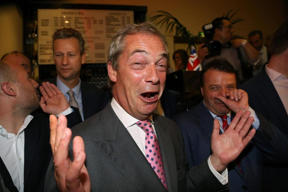 Leader of the United Kingdom Independence Party Nigel Farage celebrates in central London June 24 as results indicate that it looks likely the country will leave the European Union.