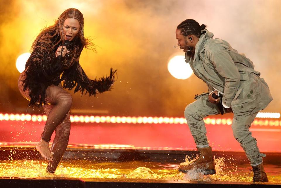 "Beyonce, left, and Kendrick Lamar performed ""Freedom"" at the BET Awards in June."