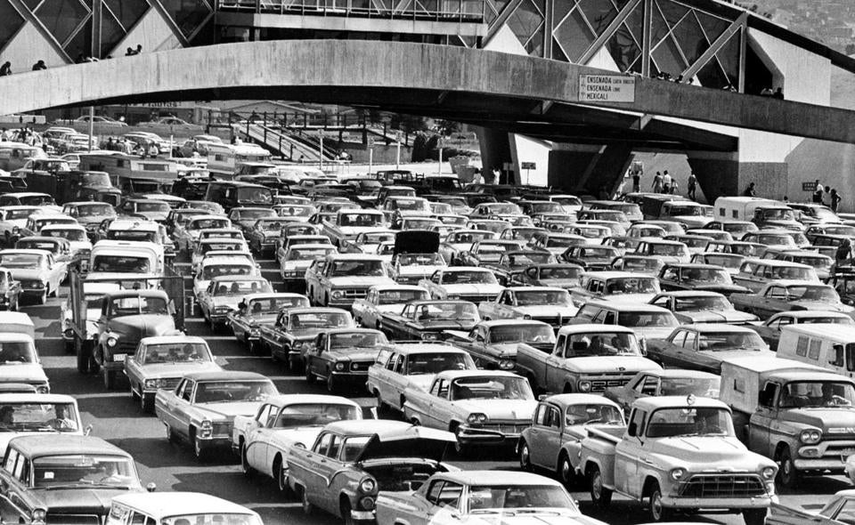 """Operation Intercept,"" a campaign by President Nixon to stop the narcotics and marijuana smuggling, caused gigantic traffic jams at the US border to Mexico in 1969."