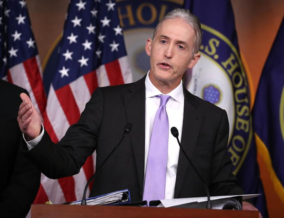 WASHINGTON, DC - JUNE 28: House Benghazi Committee Chairman, Trey Gowdy (R-SC), participates in a news conference with fellow Committee Republicans after the release of the Committees Benghazi report on Capitol Hill June 28, 2016 in Washington, DC. U.S. Ambassador Chris Stevens and three others were killed during an attack on a U.S. outpost and CIA annex in Libya on September 11, 2012. (Photo by Mark Wilson/Getty Images)