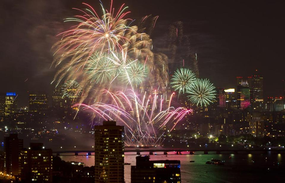 Fourth of July fireworks over the Charles River in 2014.