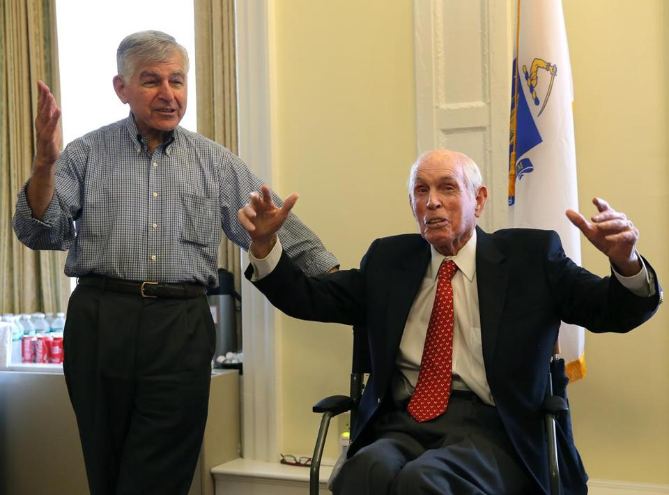 Michael Dukakis joined those honoring Mr. Crane at the State House in 2016.
