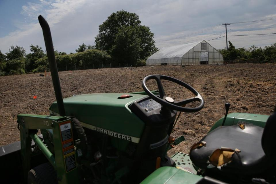 A tractor and greenhouse are pictured on the farm.