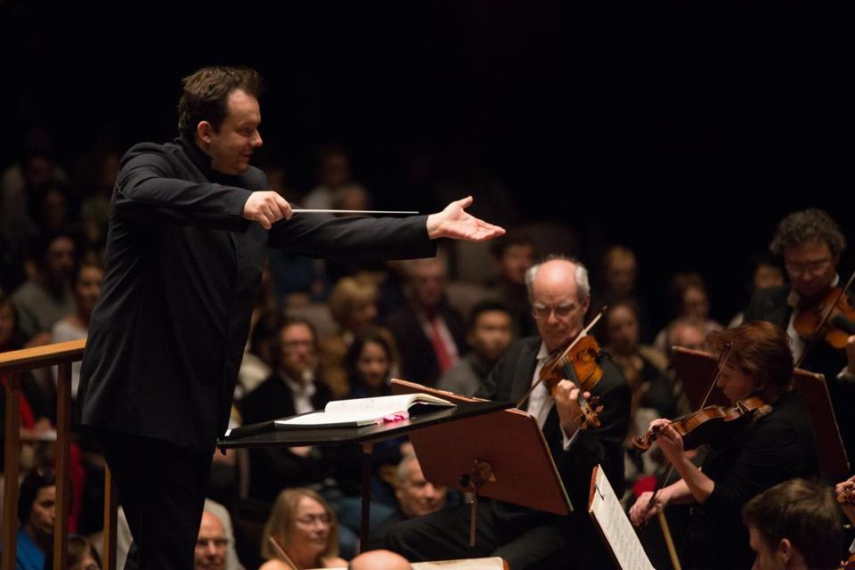 Andris Nelsons conducting the Boston Symphony Orchestra on its European tour in May.