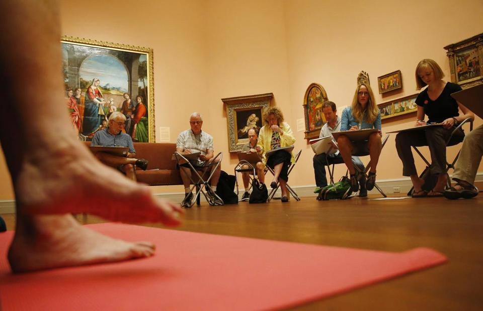 A group on a recent Thursday at the Worcester Art Museum during a nude-figure drawing studio time.