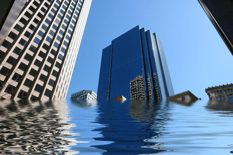 amusing image of boston skyscrapers being flooded; Shutterstock ID 3643425; PO: oped
