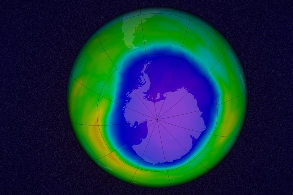 A simulation shows the Antarctic ozone hole in 2015. Scientists say the seasonal hole has opened up more slowly after an international ban on chlorofluorocarbons took effect.