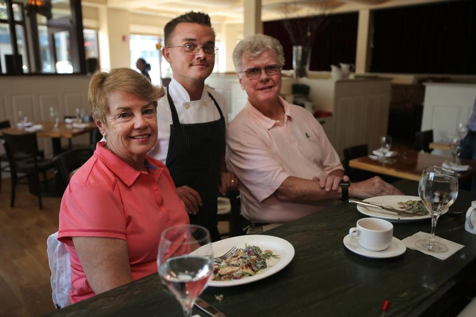 Ted O'Neill and Mary Ellen Neylon with Lumiere owner/chef Jordan Bailey.
