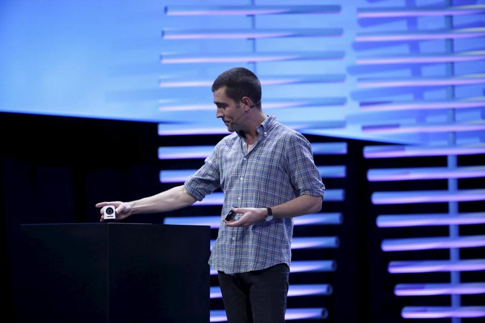 Chris Cox, chief product officer at Facebook, held a Mevo camera with integrated Facebook Live streaming during the Facebook F8 conference in San Francisco in April.