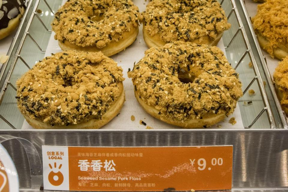 At a Dunkin' Donuts in an affluent suburb of Beijing, the doughnut selection included one with seaweed, sesame, and pork floss. In the past, Chinese have shown a dislike of sugary doughnuts.